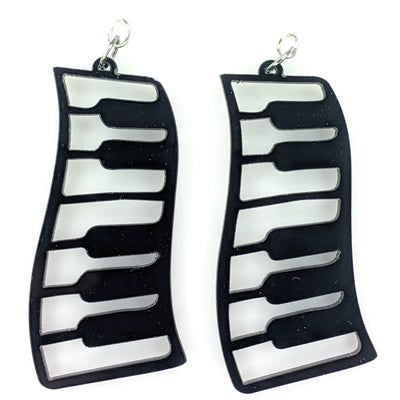 Exaggerated Piano Earrings (Dangles) - black