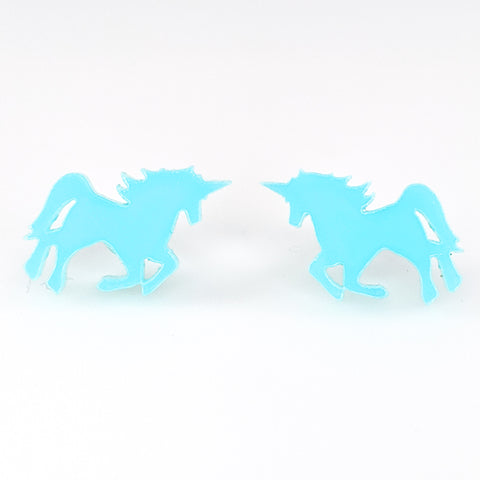 Glossy Majestic Unicorn Earrings (Studs) - turquoise