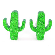 Glitter Cactus Earrings (Studs) - Symmetric