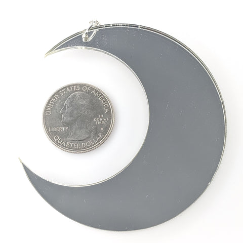 Mirrored Moon Earrings (Dangles) - size comparison quarter