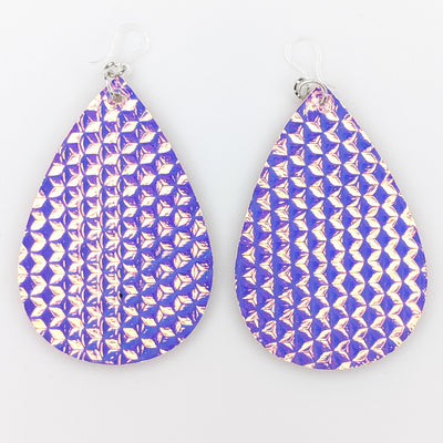 Holographic 3D Cube Earrings (Teardrop Dangles) - purple