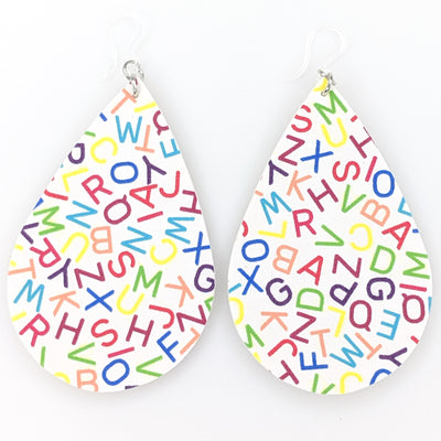 Alphabet Earrings (Teardrop Dangles) - Multi Colored