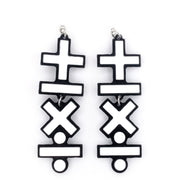 Exaggerated Math Earrings (Dangles) - black and white