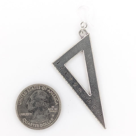Math Tool Earrings (Dangles) - size comparison quarter