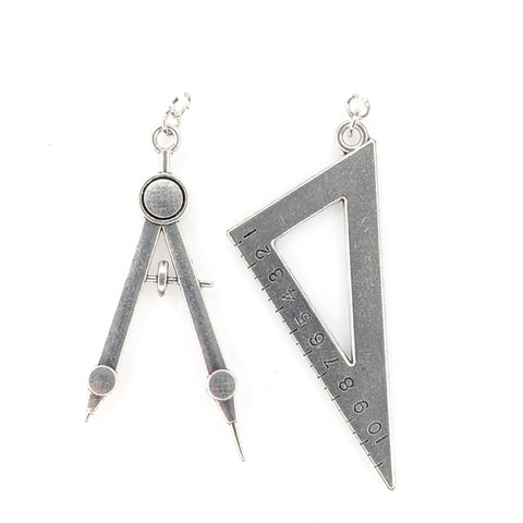 Math Tool Earrings (Dangles) - silver