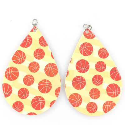 Basketball Earrings (Teardrop Dangles) - orange basketballs with yellow background