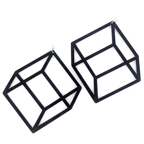 Exaggerated 3D Cube Earrings (Dangles) - black