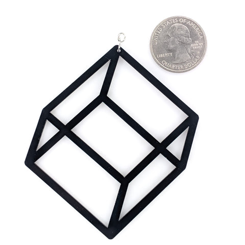 Exaggerated 3D Cube Earrings (Dangles) - size comparison quarter