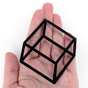 Exaggerated 3D Cube Earrings (Dangles) - size comparison hand