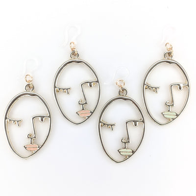 Gold Abstract Face Earrings (Dangles) - gold