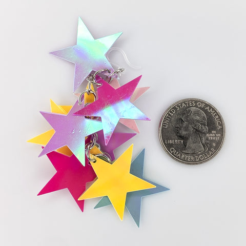 Holographic Stars Earrings (Dangles) - size comparison quarter