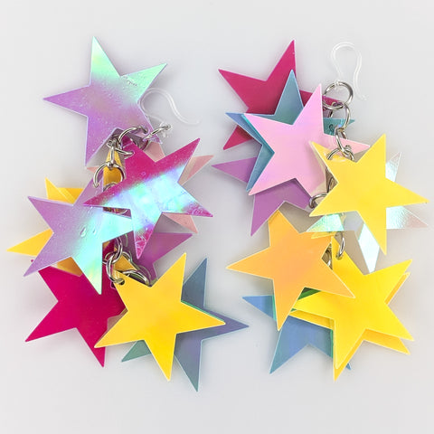 Holographic Stars Earrings (Dangles) - multi colored