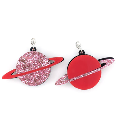 Ringed Planet Earrings (Dangles) - red and pink