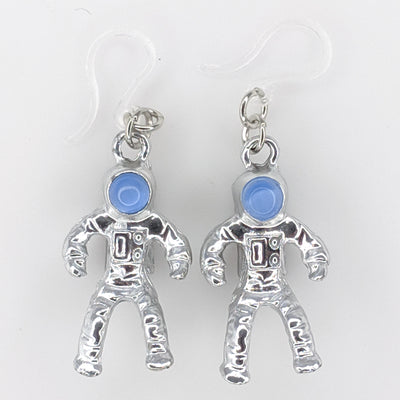 Metallic Astronaut Earrings (Dangles) - silver