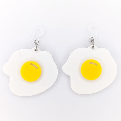 Exaggerated Fried Egg Earrings (Dangles) - white and yellow