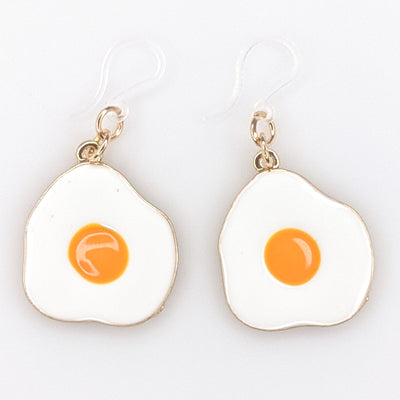 Fried Egg Earrings (Dangles) - white and yellow
