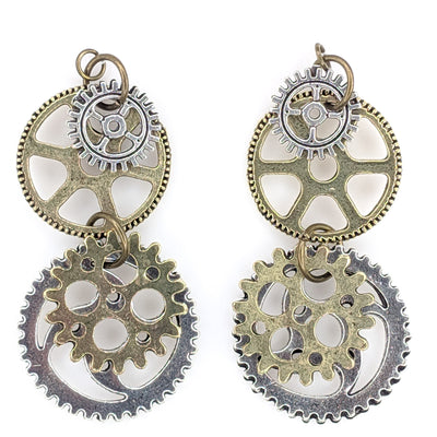 Gear Earrings (Dangles) - mixed metals