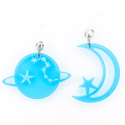 Translucent Space Earrings (Dangles) - blue