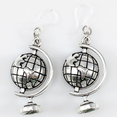 Globe Earrings (Dangles) - silver