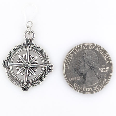 Compass Rose Earrings (Dangles) - size comparison quarter