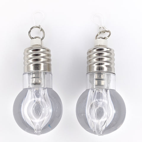 Flashing Light Bulb Earrings (Dangles) - clear bulbs