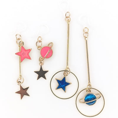 Stick Space Earrings (Dangles) - pink and blue various styles