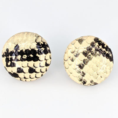 Snakeskin Button Earrings (Studs) - cream and black