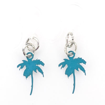 Petite Palm Tree Earrings (Dangles) - blue green