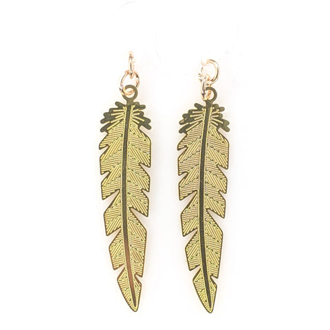 Dainty Feather Earrings Product Image - Gold
