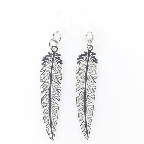 Dainty Feather Earrings (Dangles) - silver