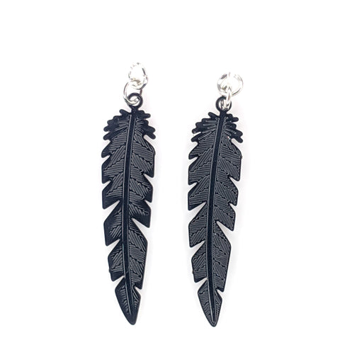 Dainty Feather Earrings (Dangles) - black