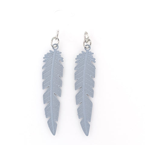 Dainty Feather Earrings (Dangles) - grey
