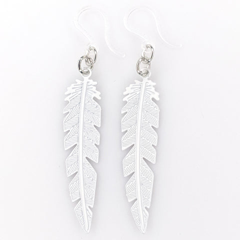 Dainty Feather Earrings (Dangles) - white