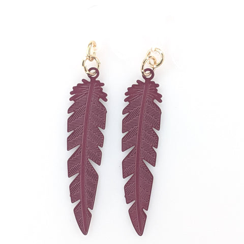 Dainty Feather Earrings (Dangles) - plum