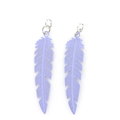 Dainty Feather Earrings (Dangles) - purple