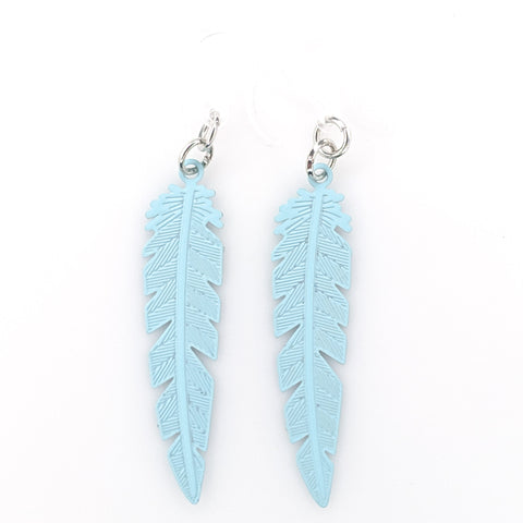 Dainty Feather Earrings (Dangles) - blue