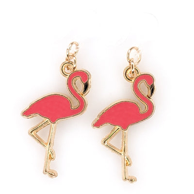 Flamingo Earrings (Dangles) - pink and gold