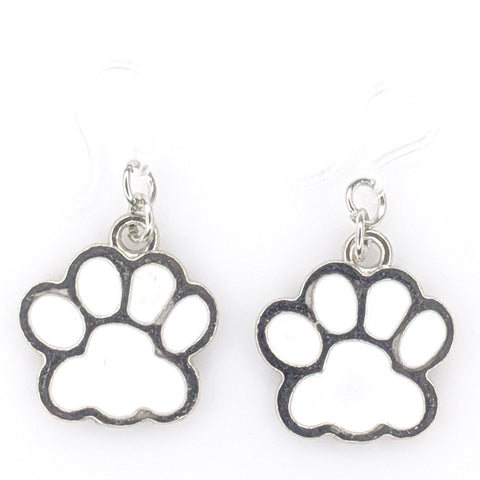 Paw Print Earrings (Dangles) - white