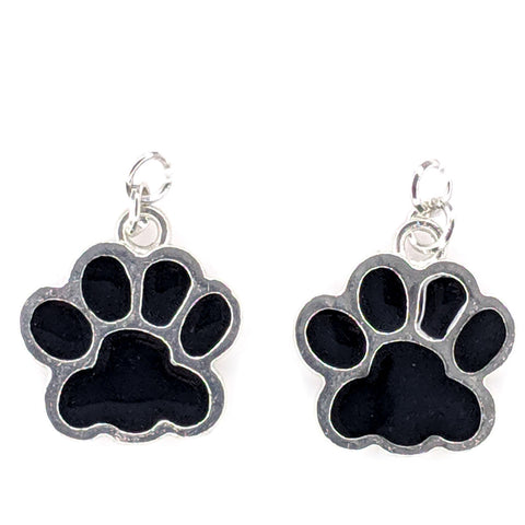 Paw Print Earrings (Dangles) - black