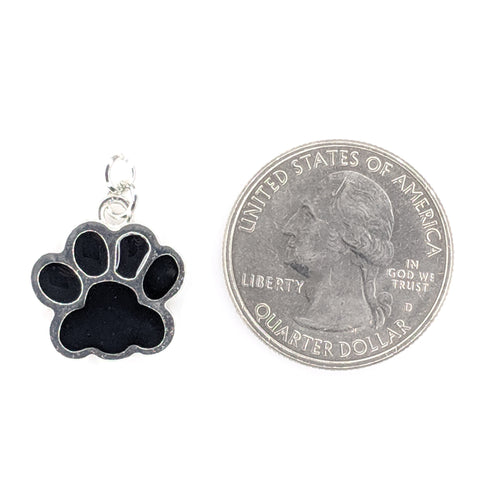 Paw Print Earrings (Dangles) - size comparison quarter