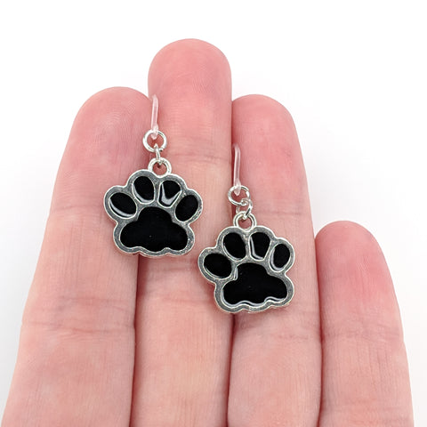 Paw Print Earrings (Dangles) - size comparison hand