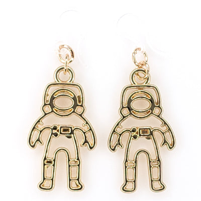 Golden Astronaut Earrings (Dangles) - gold