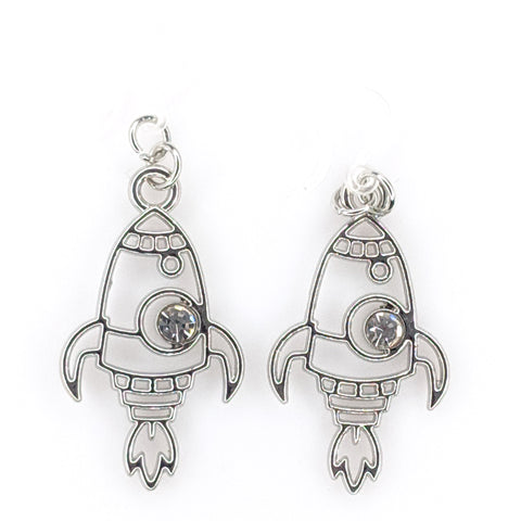 Silver Rocket Earrings (Dangles) - silver