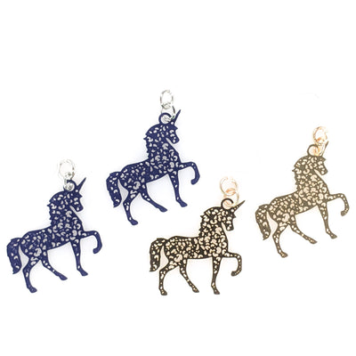 Dainty Unicorn Earrings (Dangles) - silver and gold