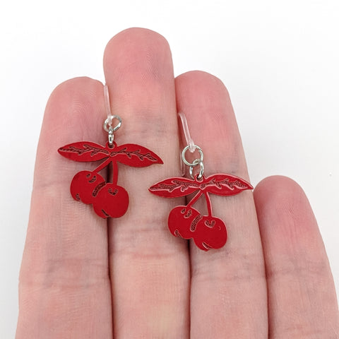 Cherry Earrings (Dangles) - size comparison hand