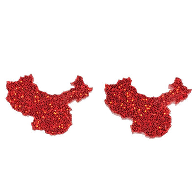 Glitter China Earrings (Studs) - red glitter