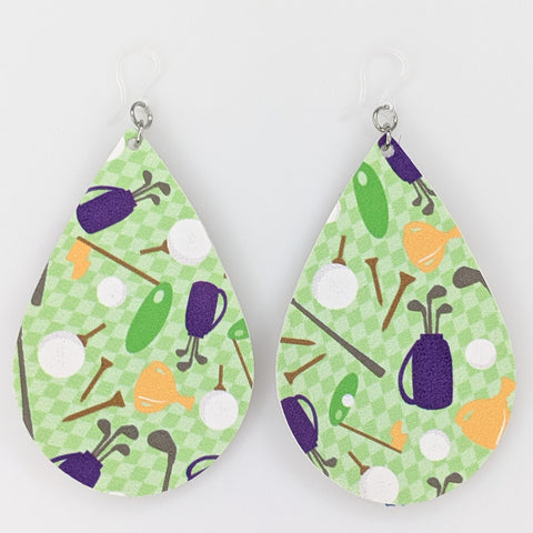 Golf Teardrop Earrings (Teardrop Dangles) - multi colored