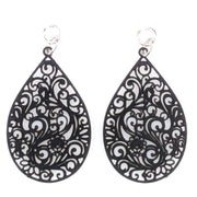 Paisley Teardrop Earrings (Dangles) - black
