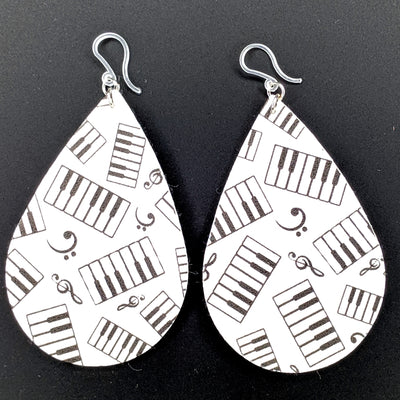Piano Earrings (Teardrop Dangles) - black and white