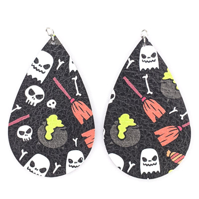Witch Earrings (Teardrop Dangles) - black with various colors